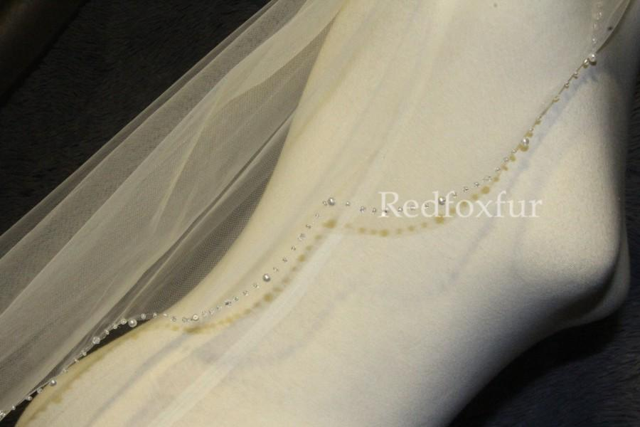 زفاف - Pearl Bridal Veil, Beaded Wedding Veil, 1 Layer Veil, Ivory Veil, White Veil,  Elbow Veil, Veil for Bride, Comb Veil