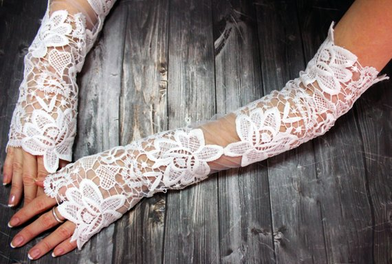 Wedding - Extra Long White Lace Wedding Gloves Fingerless Lace Glovelet Bridal Glove Floral Wedding Glove Bridal Cuff Opera Gloves Bridal Gift For Her