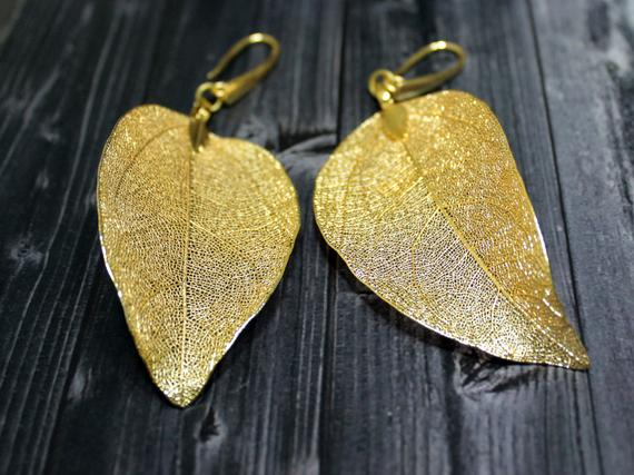 Mariage - Real Leaf Earrings Gold Leaf Earrings Gold Dipped Leaves Woodland Jewelry Wedding Jewelry Unique Gift For Girlfriend Valentines Day Gifts