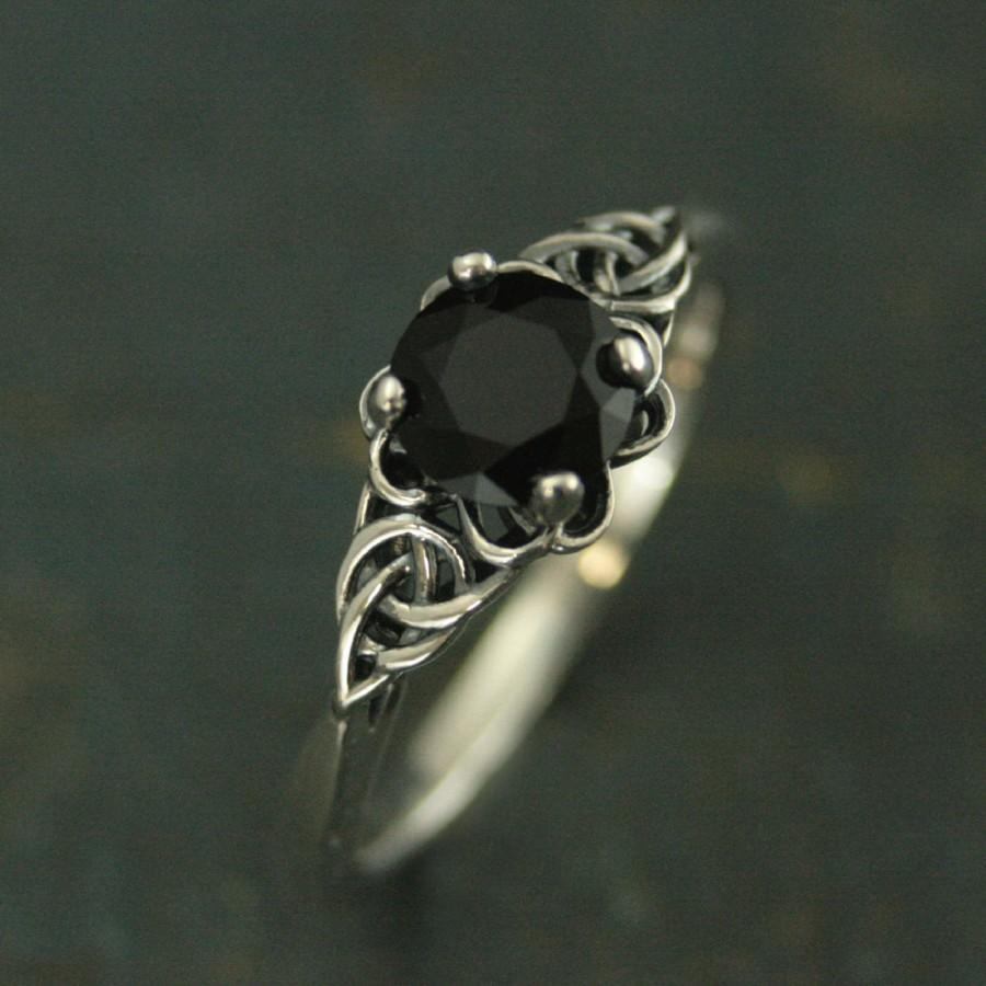 Wedding - Silver Celtic Ring Black Onyx Full Cut Faceted Onyx The Raven Ring Unique Engagement Ring Black Stone Ring Faux Black Diamond Celtic Knot