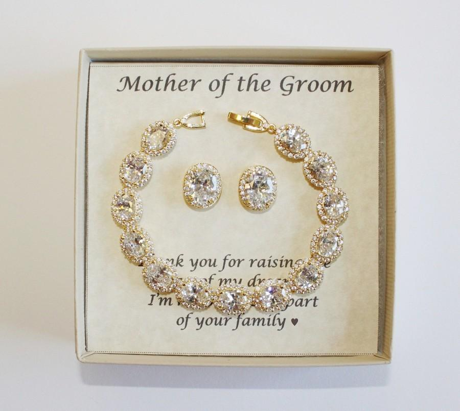 زفاف - Mothers gift, Custom Engraved Mother of the groom set, Mother of the bride set, Bridal bracelet earrings, Mother jewelry, Mother in law