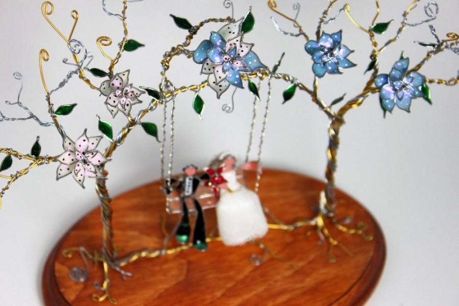 Hochzeit - The Linked Trees- Customizable Wedding Cake Topper/ Centerpiece Sculpture