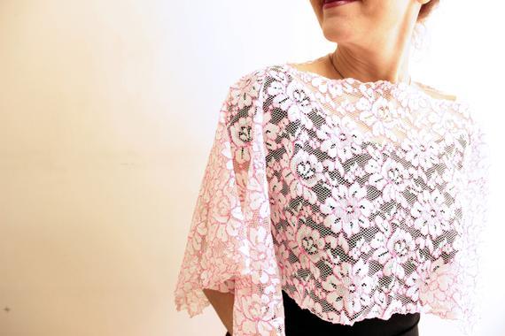 زفاف - White pink lace capelet, bridal little pink lace bolero shrug wedding party evening dress cover