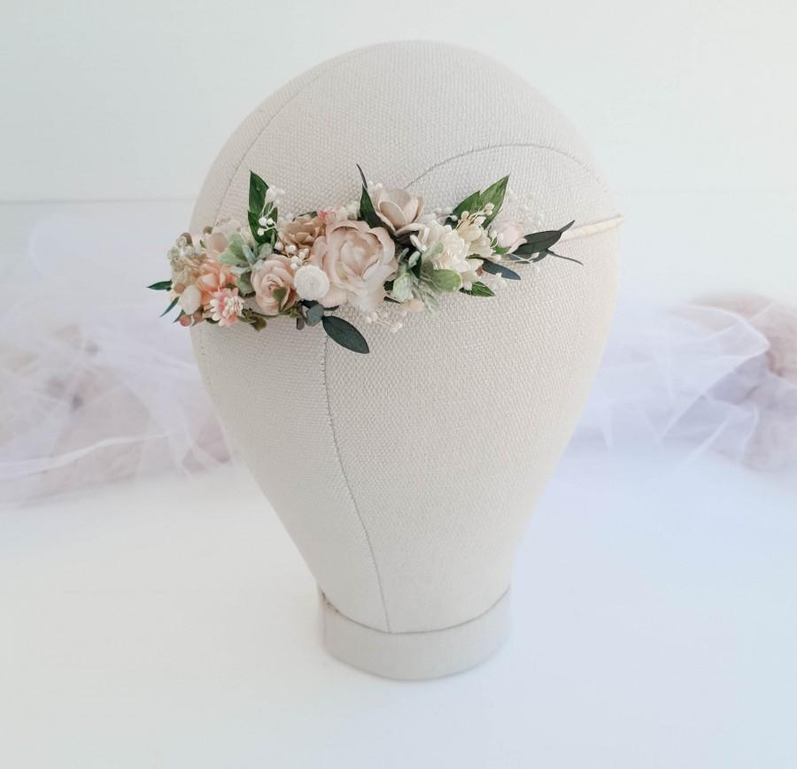 Hochzeit - Beige flower crown, greenery Bridal floral crown, Floral wedding crown, Wedding flower headpiece, Wedding flower crown, Rustic wedding