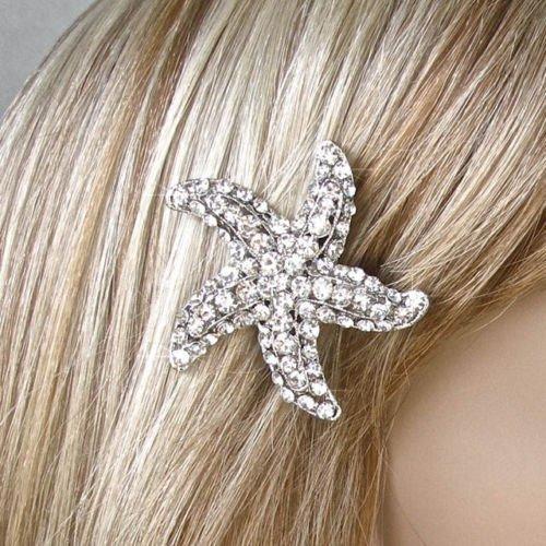 Mariage - Silver or Gold Handmade Crystal Rhinestone Starfish Hair Clip, Bridal, Wedding (Sparkle-1817)