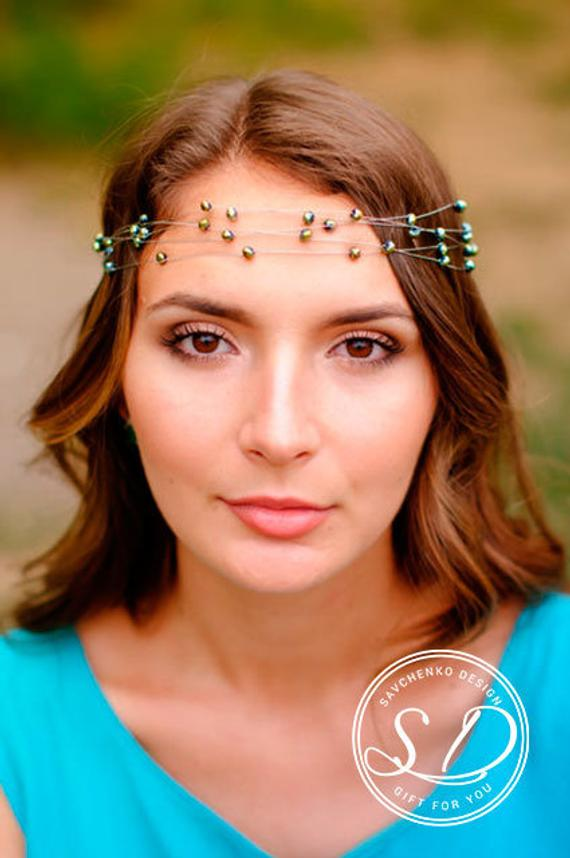 Wedding - grean bohemian circlet Woodland crown Bohemian hair crown rustic wedding crown renaissance headpiece green beaded crown pagan circlet