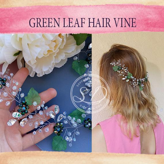 Mariage - Green Hair Vine Emerald Crystal flower crown Green Leaves Hair Headband greenery wedding hairpiece Green Crystal Tiara St. Patrick's crown