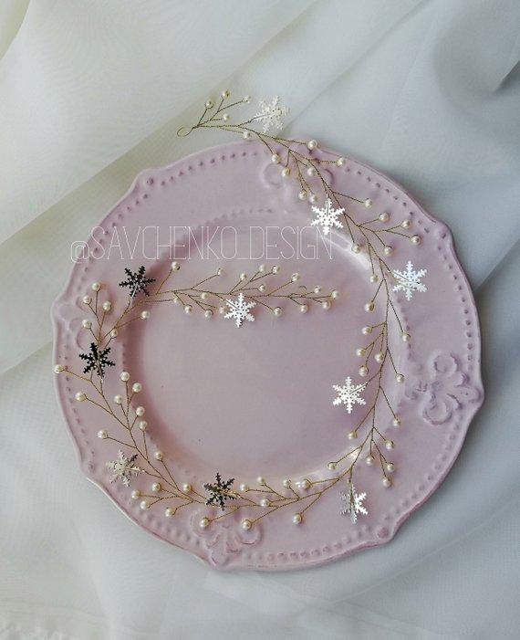Wedding - Gold Snowflakes pearl headpiece Wedding Hair Vine Winter snowflake hair accessories brides hair piece winter Snow Queen wedding Ice Princess