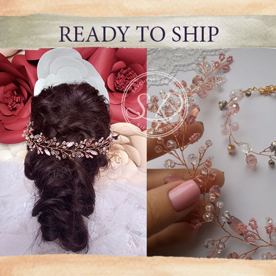 Mariage - Rose gold opal hair piece bohemian bridal headpiece made of honor gift Rose gold Long Hair Vine Bridesmaid hairpiece pink hair vine vigne