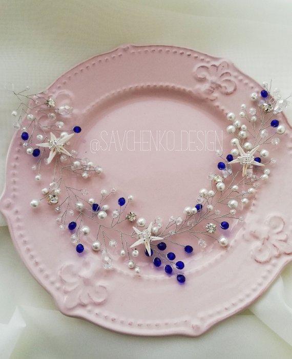 Свадьба - Light blue Mermaid Hair Vine Seashell Crown Pearl Bridal Head Piece beach wedding hair piece