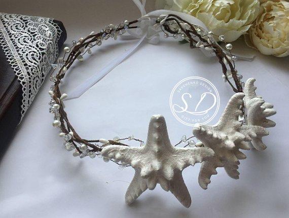 Mariage - Beach Wedding Hair Piece Mermaid Costume Headband Seashell Crown Gilded starfish crown Sea shell tiara Starfish hair accessories Evil queen