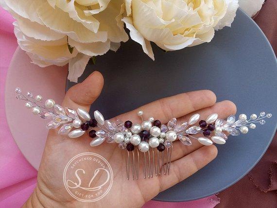Wedding - Purple Ivory Bridal Hair Comb Braut haarschmuck Babys breath Hair clip Amethyst Bridal Comb Purple Hair Comb Royal Plum Bridal Hairpiece
