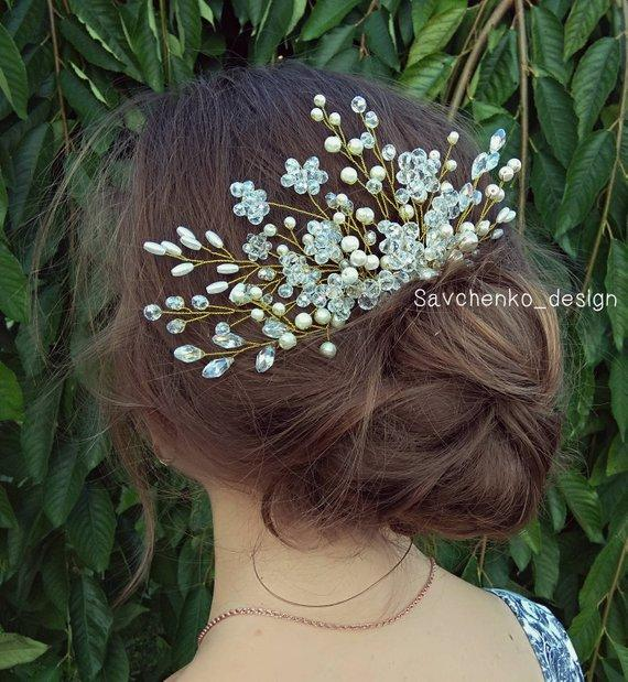 Hochzeit - Bridal hair comb with crystals Pearl hair comb Crystal headpiece Rose gold Bridal hair comb Boho haarschmuck Large bridal hair piece