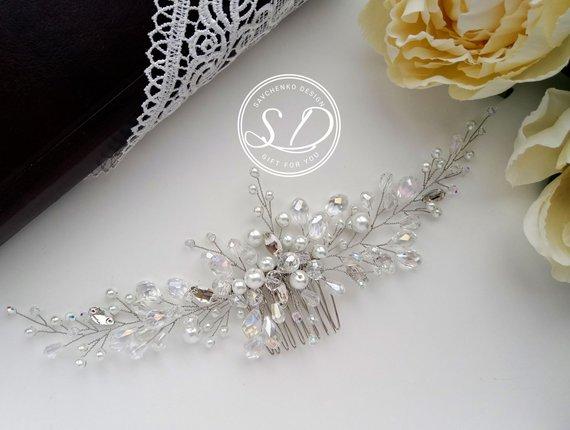 Wedding - Swarovski Pearls Bridal hair comb Pearl Bridal headpiece Glass pearl bridal headpiece Floral crystal hair piece Wedding Hair Piece