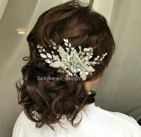 Wedding - Bridal hair accessories Crystals Wedding hair comb Tocado novia Silver leaf hair vine Bridal peigne cheveux mariage peigne hairvines wedding