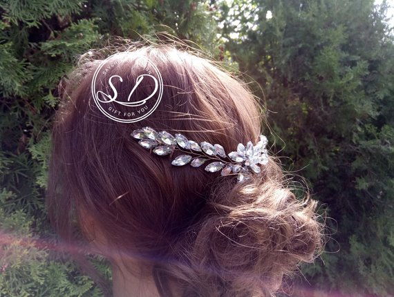 Wedding - Tocado novia Swarowski Bridal Hair comb Leaf hair vine Rose gold headpiece Vintage Bridal hair vine Rhinestone Hair Comb lace hair comb
