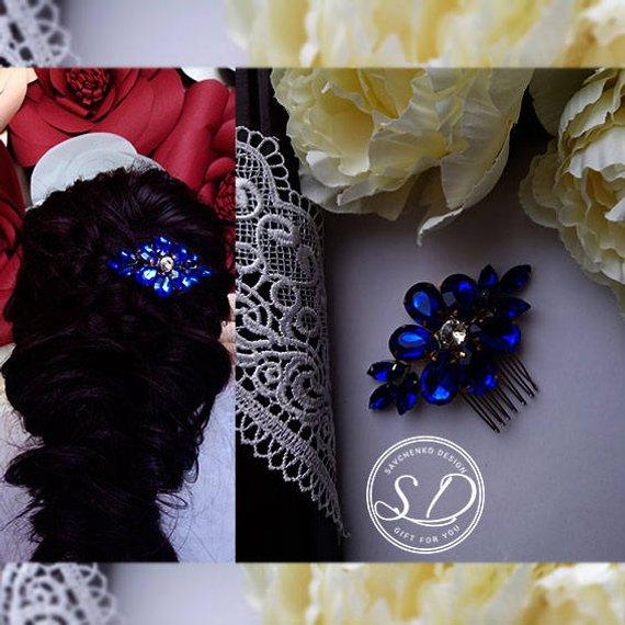 Mariage - Royal blue swarovski hair pin Braut haarschmuck Bridal hair comb Swarovski Hair piece Crystal Comb Blus Blue Wedding Comb Tocados novia