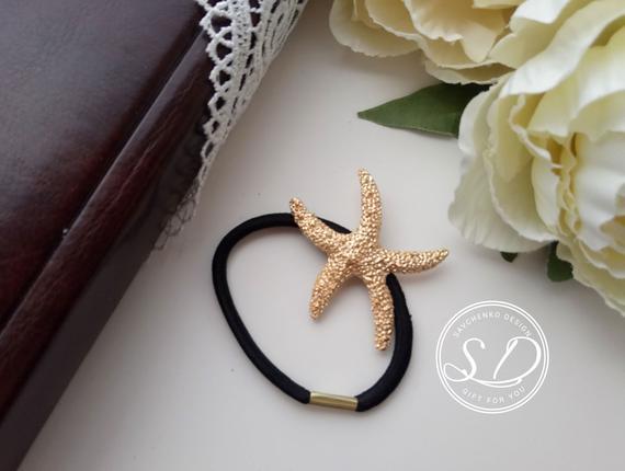 Wedding - Starfish hair clip Nautical Gold Tone Starfish Charm Beach Hair Jewels Bridesmaid Hair Elastic gift Rhinestone Starfish Hair Clip Nautical