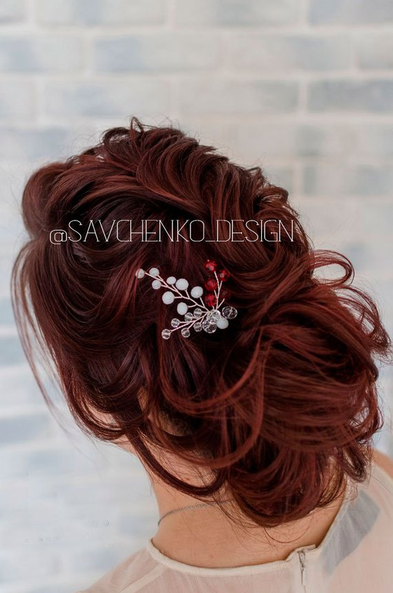 Red Hair Pin For Bride Monimaism Bridal Hair Accessories ...