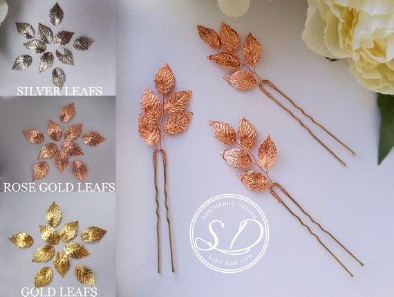 Свадьба - Rose Gold leaf hair pins Rose Gold Beauty Rose gold wedding hair accessory Grecian Rose Gold Hair Clip Bridesmaid gifts Small Bridal Hairpin