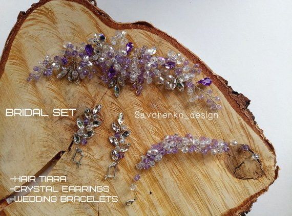 Mariage - Lilac wedding set Bridal wedding set Jewelry Set Lilac Hair Comb Lilac Earrings Haarschmuck braut Sapphire bridal hair comb Winter hair comb