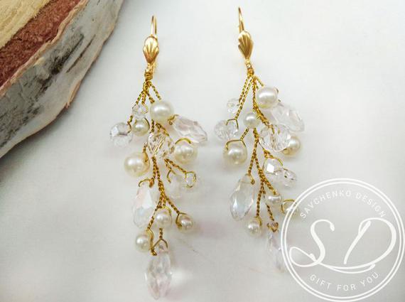 Wedding - Bridal Earrings Gold Sparkle Gold Earrings Bridesmaid Gift champagne crystal earrings gold teardrop earrings Dangles Drops Shabby Chic