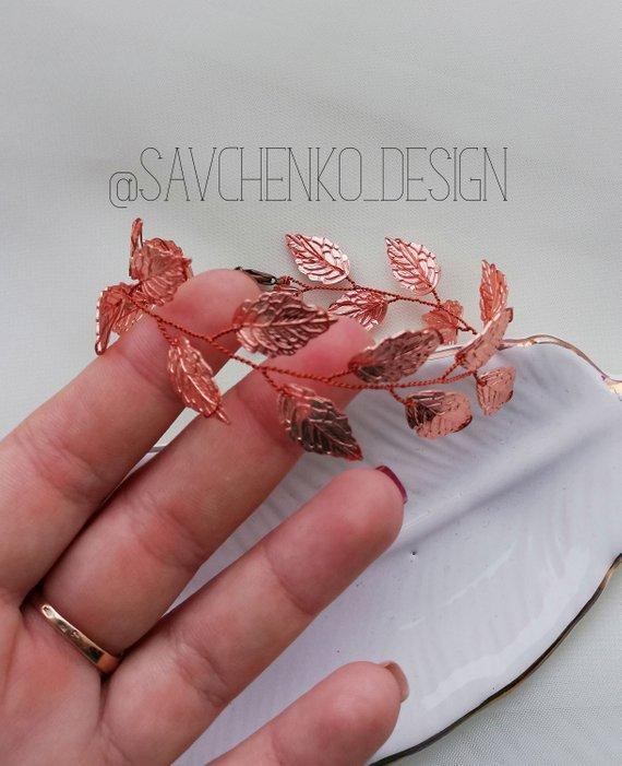 Свадьба - rose gold leaf bracelet for girl Vine Bridal Bracelet Bridesmaid armkette rosegold leaf