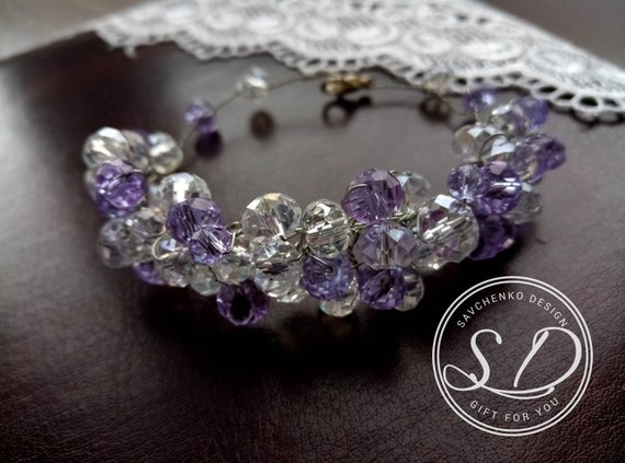 Свадьба - Purple crystal bracelet Purple bridesmaid gift Bridesmaid Bracelet Purple Gemstone Bracelet Purple memory wire bracelet Purple Crystal Brace
