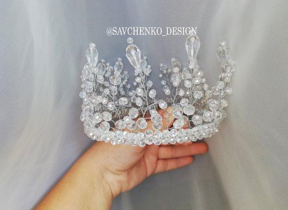 Wedding - Crystal bridal crown Silver Tiara