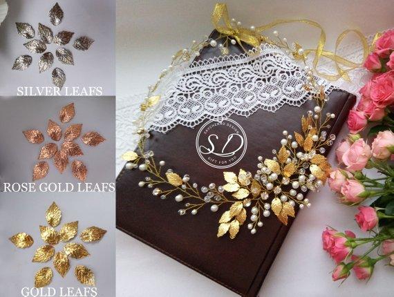 Wedding - Gold leaf hair vine Greek Goddess Crown Rose Gold Leaf Headband Laurel Gold Bridal Tiara Gold boho crown Queen Wedding Headpiece The Aura