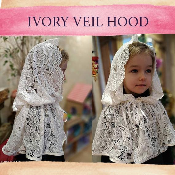 زفاف - Church veil catholic head lace veil cape baptême little girl burlap lace cape cloak hooded first communion shawl robe mariée médievale