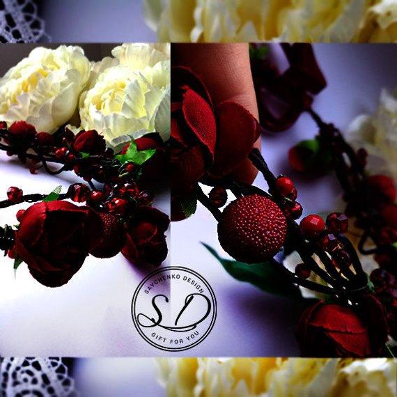 Wedding - set of 1,2,3,4 Burgundy flower crown Red Wedding crown Bohemian flower headpiece Bridesmaid Wine Flower Wreath Bridal greenery Wedding