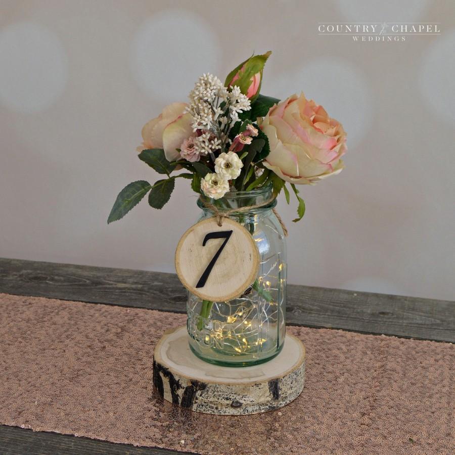 زفاف - Rustic Wedding Tree Slice Table Numbers~ Spring Wedding ~ DIY Wedding ~ Mason Jar Table Numbers ~ Rustic Table Number ~ Wedding Table Number
