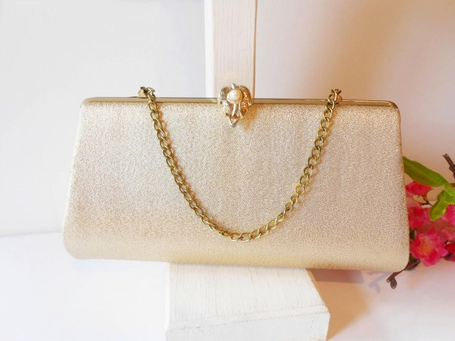 Mariage - Vintage Gold Metallic Evening Bag, Gold Clutch Bag EB-0622