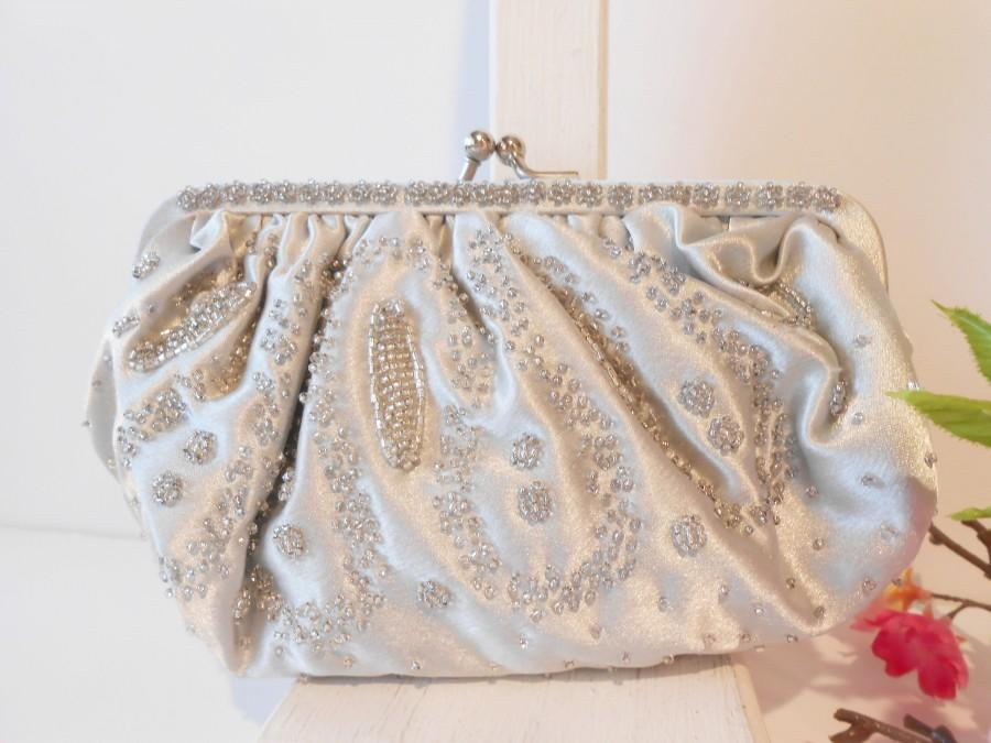 Mariage - Vintage Silver Evening Bag, Beaded Silver Clutch Bag, Wedding Purse  EB-0203