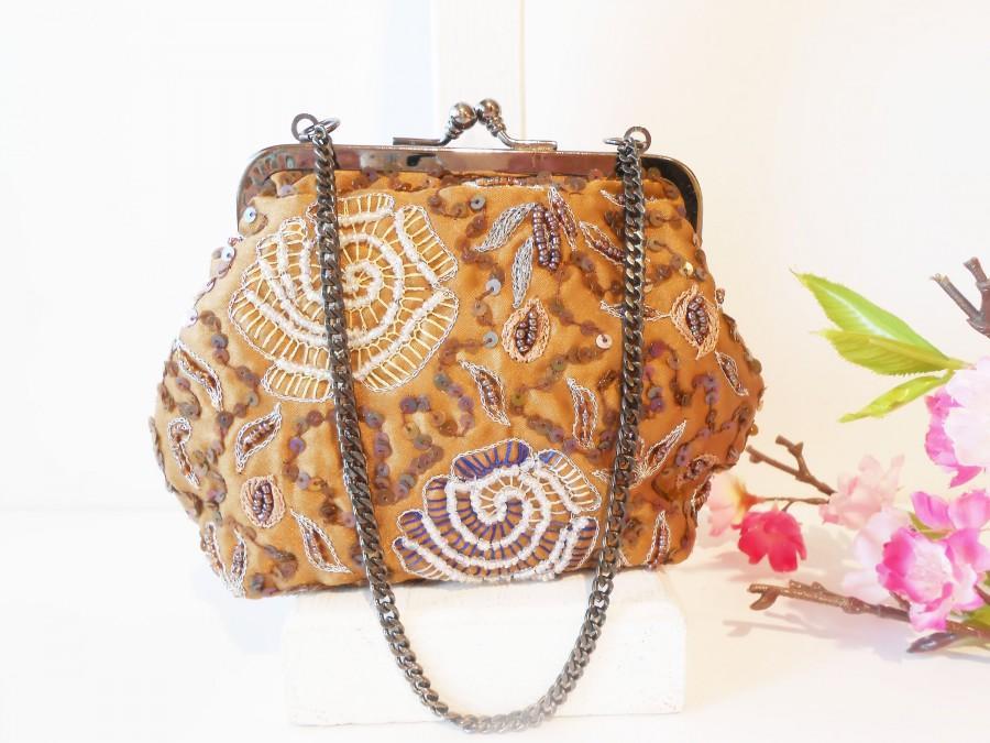Mariage - Vintage Brown Bead Evening Bag, Glamorous Brown Evening Purse  EB-0115