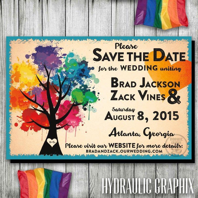 Wedding - Rainbow Wedding Save the Date, Gay Wedding Save the Date, LGBT Save the Date, Love Wins Invite, Same Sex Wedding, Paint Party, Paint Night