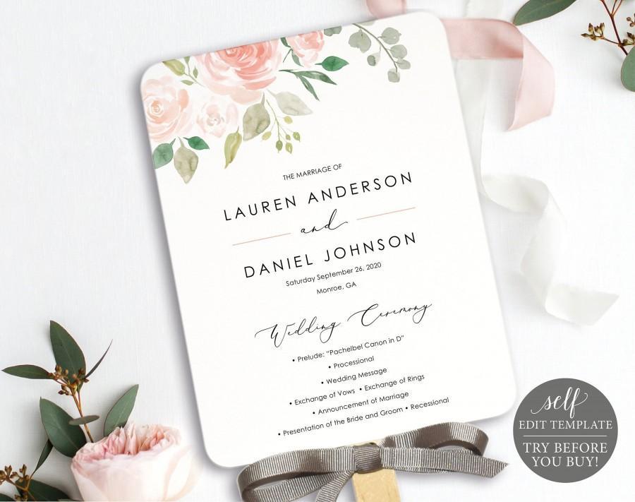 Mariage - Floral Wedding Program Fan, Printable Program Fan Template, Printable Wedding Fan, Ceremony Fan, Calligraphy, Instant Download, MM08-3