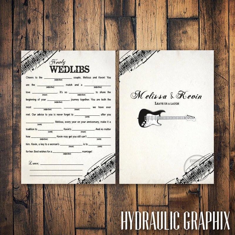 Mariage - Rock N Roll Wedding Mad Libs with Guitar, Marriage Advice Mad Lib Card, Printable Mad Lib Card, Guest Book Alternative, Music Theme Wedding