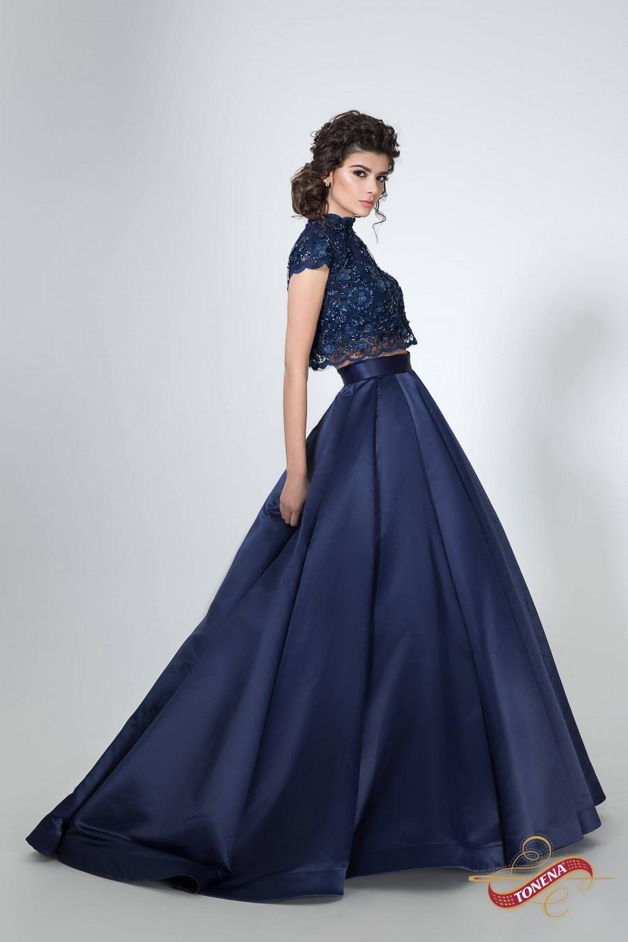 Mariage - Two piece lace and satin dress, Navy blue evening dress, Cap sleeves prom dress, Crop top and skirt set Floral lace bodice Long evening gown