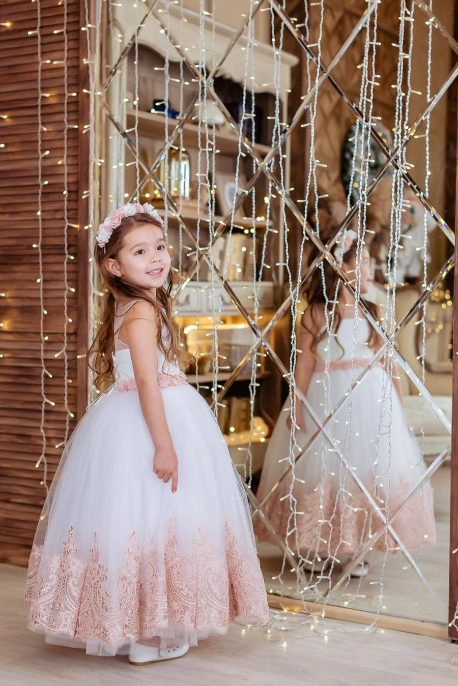 Mariage - Flower Girl Dress, Wedding Girl Dress, White Flower Hirl Dress, Junior Bridesmaid Dress, Flower Girl Dresses, Lace Flowers Girl Dress, Dress