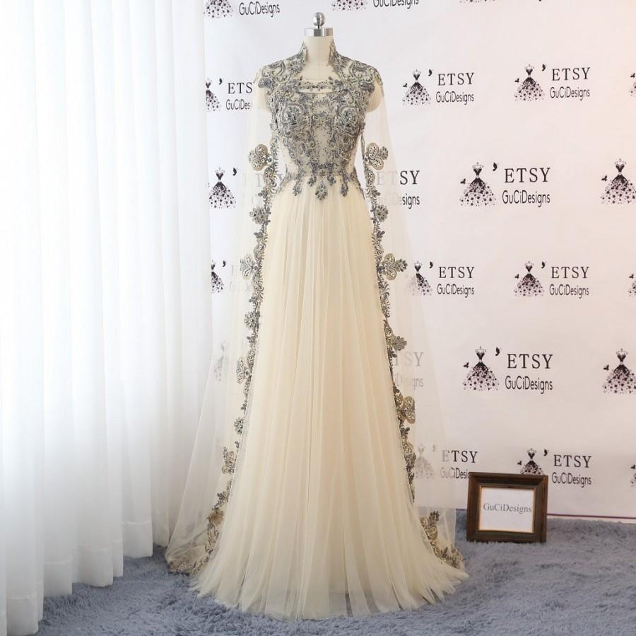 Mariage - 2018 Women Evening Dress Champagne Tulle with Gold Lace Bridal Wedding Gown Illusion Back with Long Removable Cape Custom Color Formal Gown