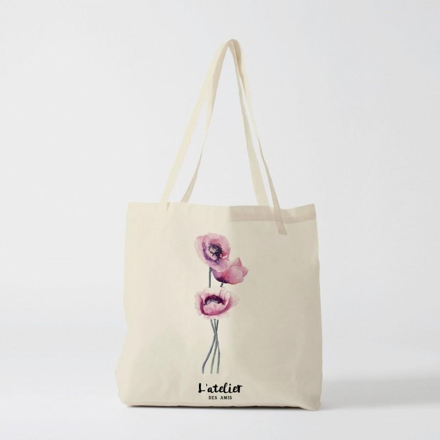 Mariage - X237Y tote bag flower, canvas bag, cotton bag, shopping bag, custom tote bag, personalized tote bag, tote gift,  tote bag personalized