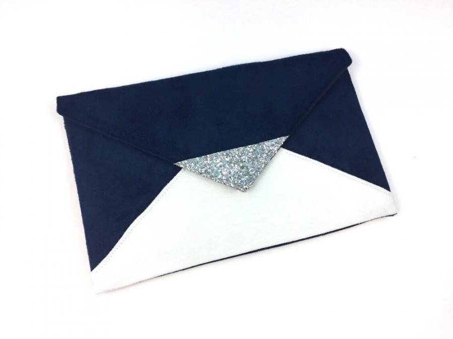 Mariage - Evening clutch bag Navy Blue and white suede silver glitter - clutch - envelope clutch