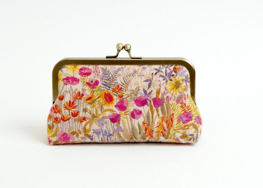 Mariage - Linen Floral Liberty of London Print clutch, Party clutch, Formal purse, Bridesmaids gift, Bag Noir, Gift for her, Small bag, Mini Clutch