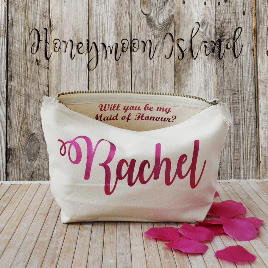 Mariage - Bridesmaid Gift Wedding Proposal - Personalized Makeup Bag - Maid of Honor - Unique Gift for Bridal Party, Cosmetic Bag, Wedding Thank you