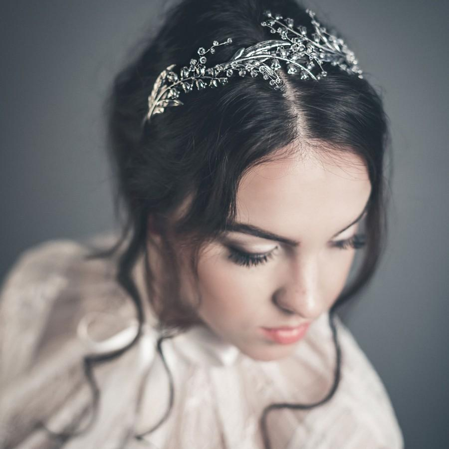 Свадьба - Bridal tiara - Lily of the valley hair piece - Lily of the valley crown - Silver flower tiara - Silver bridal tiara