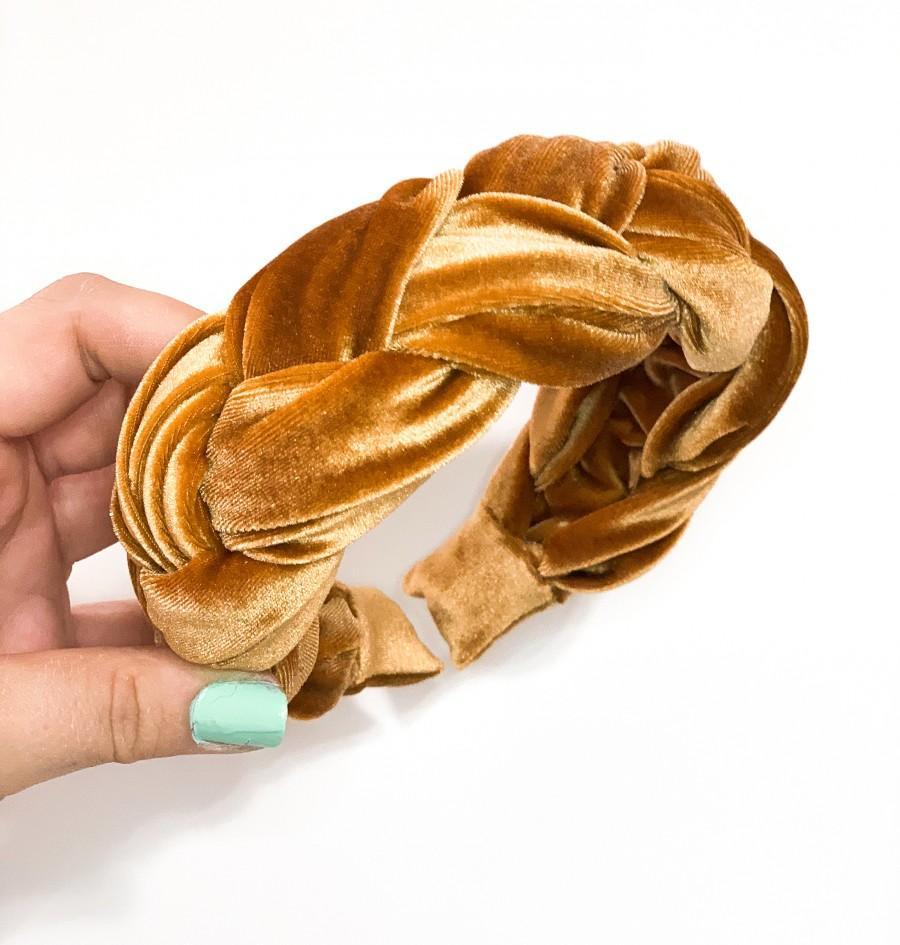 Mariage - Braided Velvet Headband *Larger Version*  - Mustard / Burgundy / Gold / Emerald / Teal / Blush -