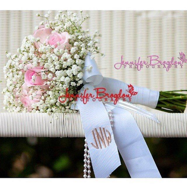Wedding - Monogrammed Wedding Bouquet Ribbon