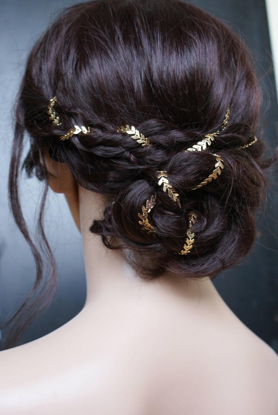 Свадьба - Bridal headpiece in Gold - Wedding Hair Accessory for back of head - Gold Hair chain - 1930s Wedding Dress - Bohemian Bridal Hair Accessory